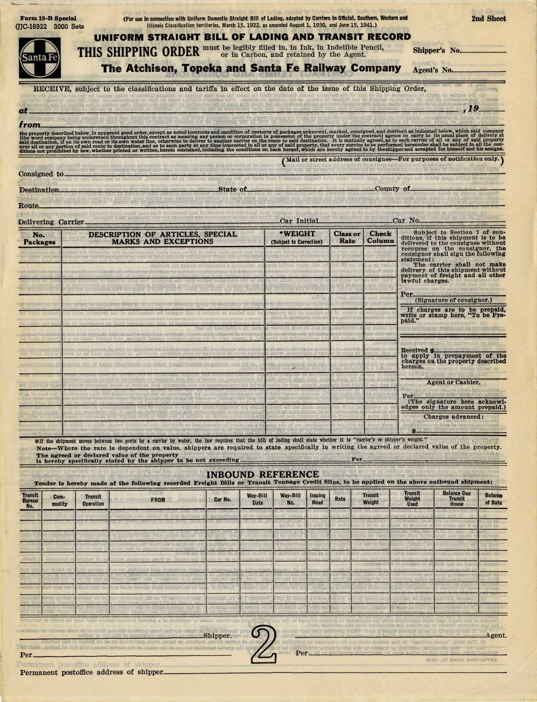 uniform straight bill of lading form